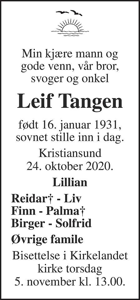 Leif Tangen Dødsannonse