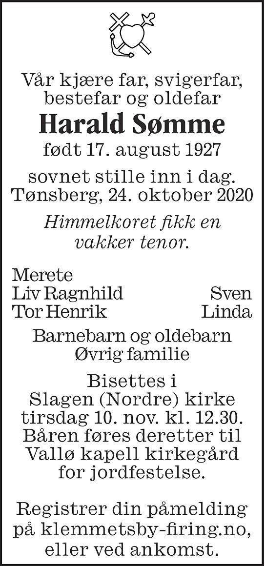 Harald Sømme Dødsannonse