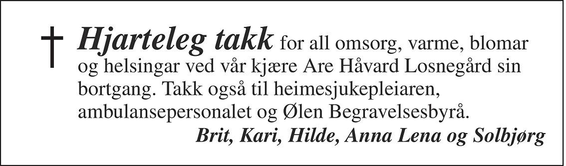 Are Håvard Losnegård Dødsannonse