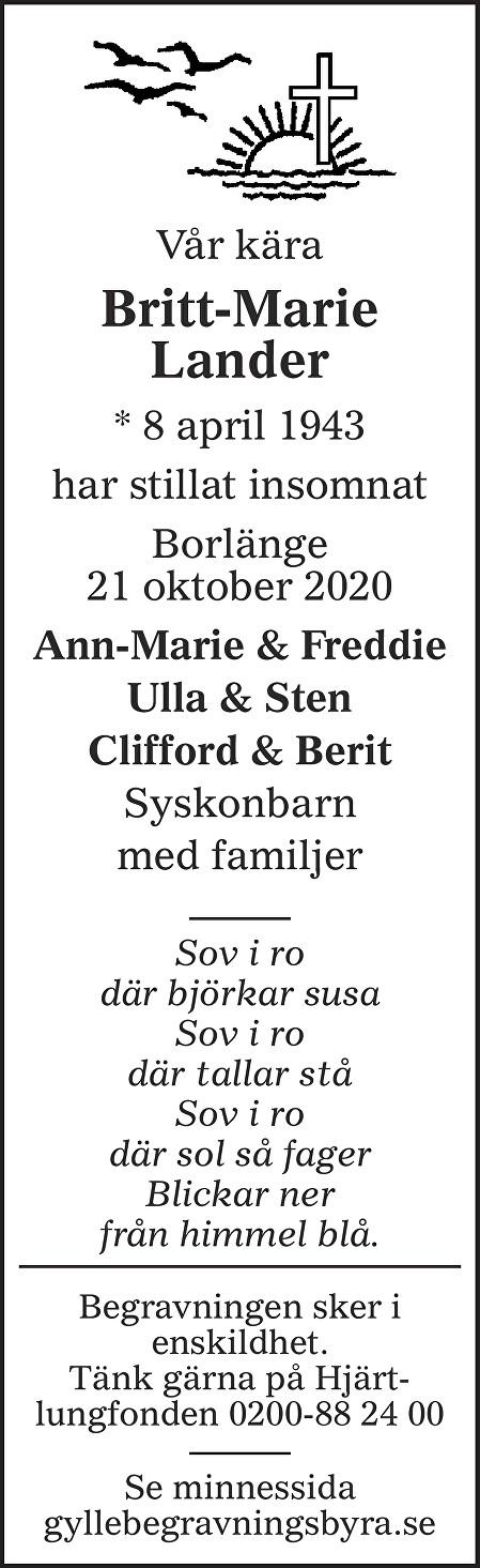 Britt-Marie Lander Death notice