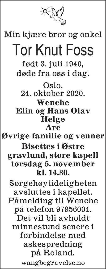 Tor Knut Foss Dødsannonse