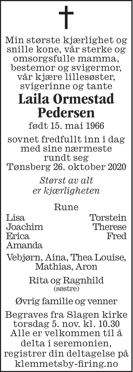 Laila Ormestad Pedersen Dødsannonse