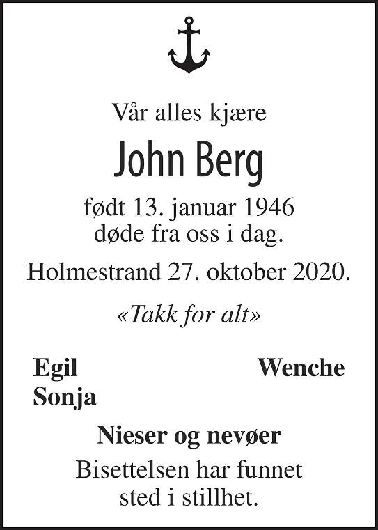 John Berg Dødsannonse