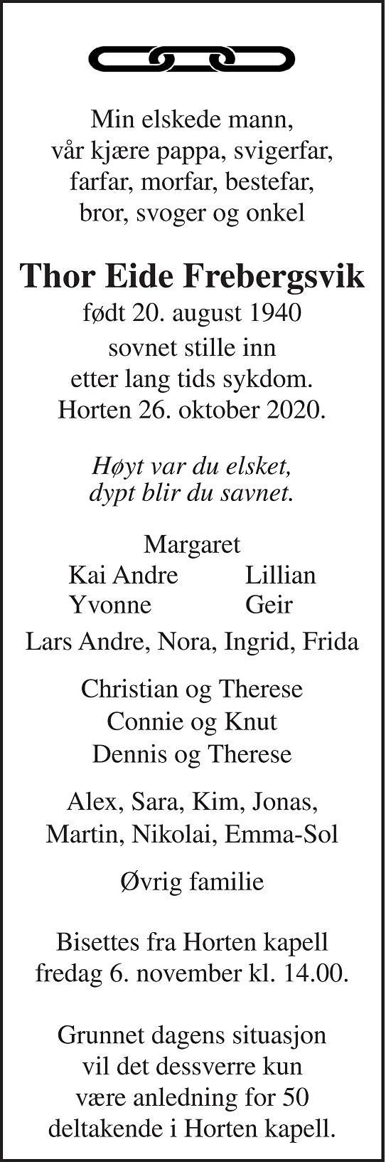 Thor Eide Frebergsvik Dødsannonse