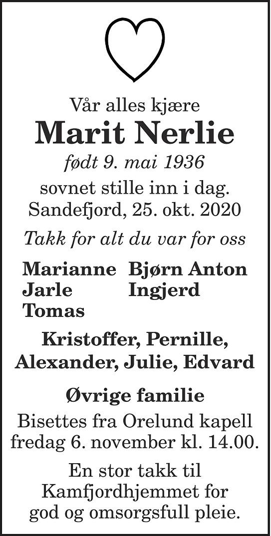 Marit Nerlie Dødsannonse