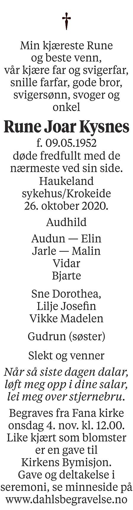 Rune Joar Kysnes Dødsannonse
