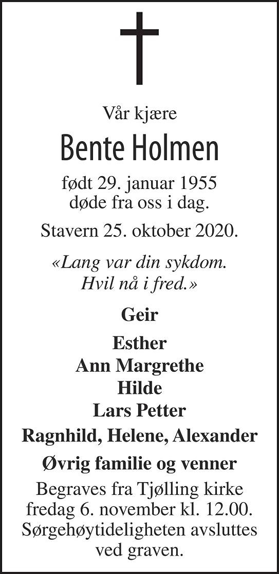 Bente Holmen Dødsannonse