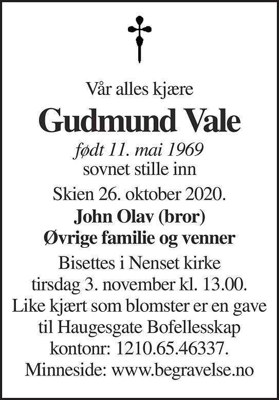 Gudmund Vale Dødsannonse