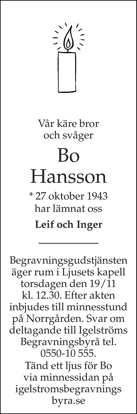 Bo Hansson Death notice
