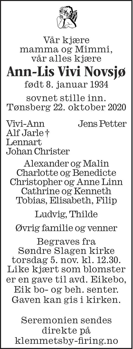 Ann-Lis Vivi Novsjø Dødsannonse