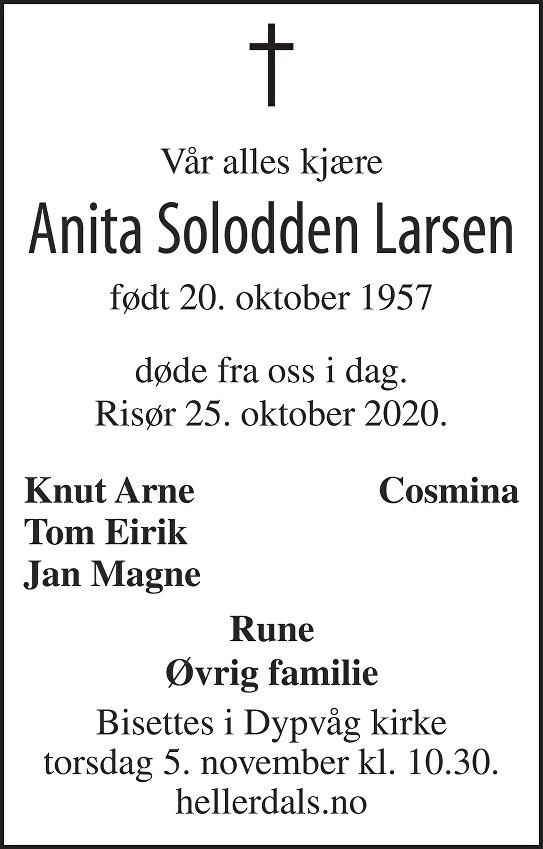 Anita Solodden Larsen Dødsannonse