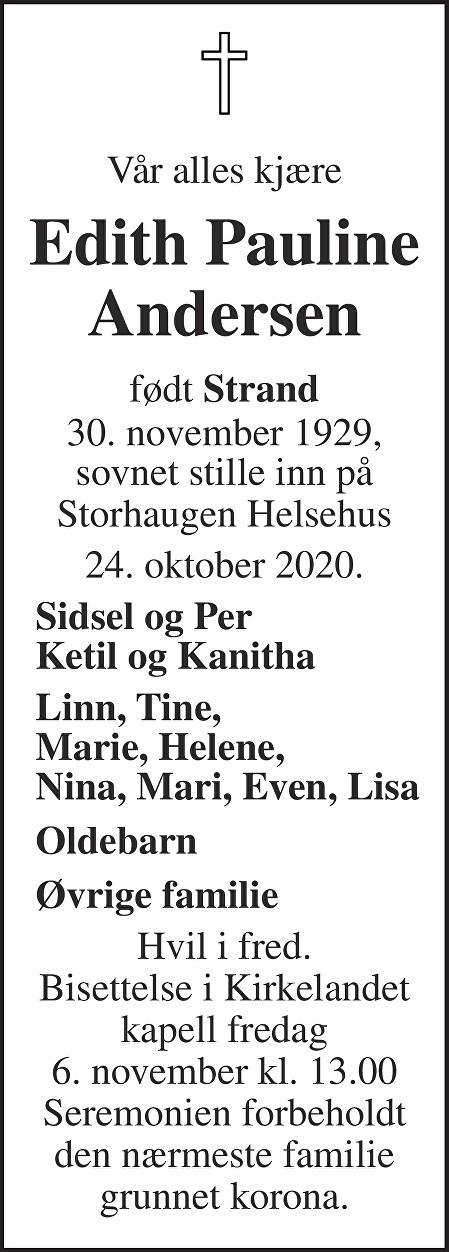 Edith Pauline Andersen Dødsannonse