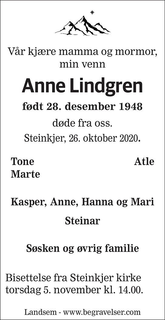 Anne  Lindgren Dødsannonse