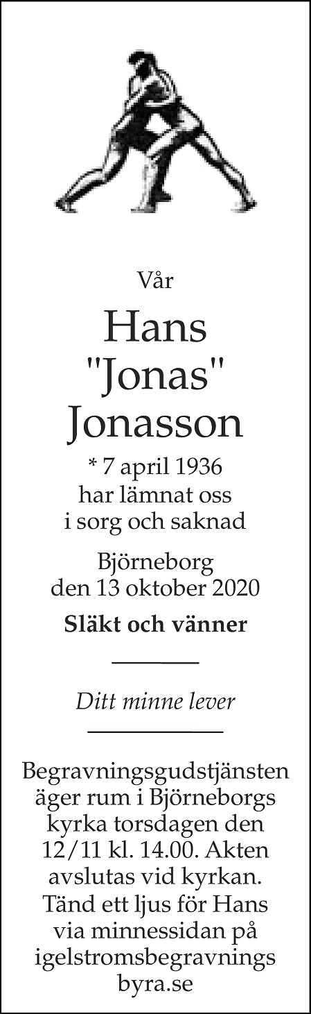 """Hans """"Jonas"""" Jonasson Death notice"""