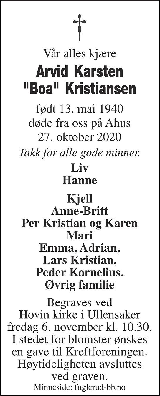 Arvid Karsten Kristiansen Dødsannonse