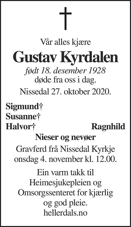 Gustav Kyrdalen Dødsannonse