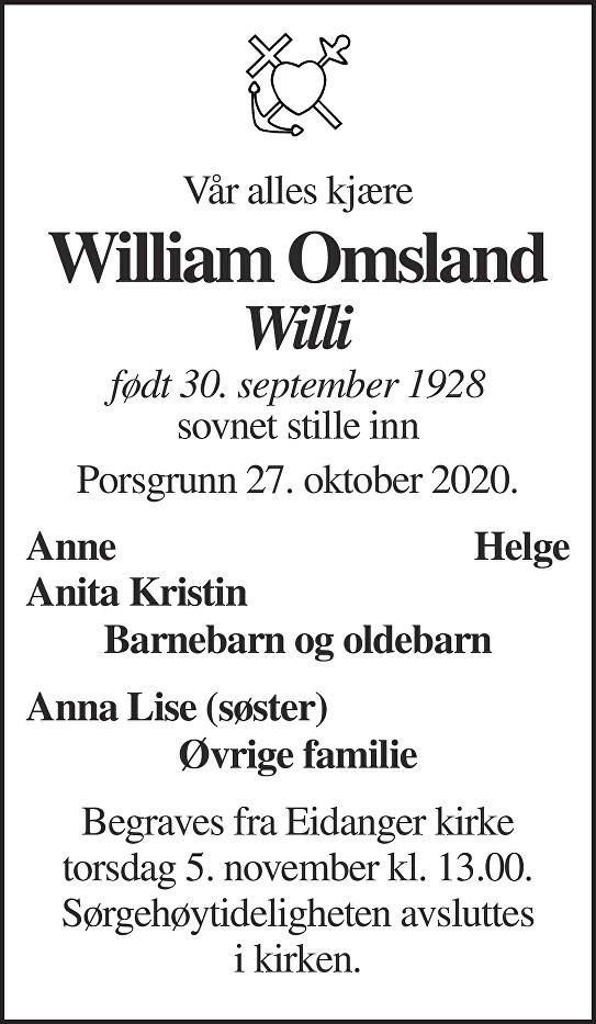 William Omsland Dødsannonse