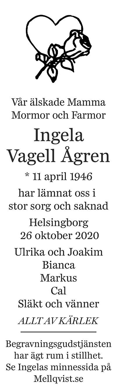 Ingela Vagell Ågren Death notice