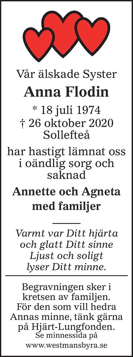 Anna Flodin Death notice