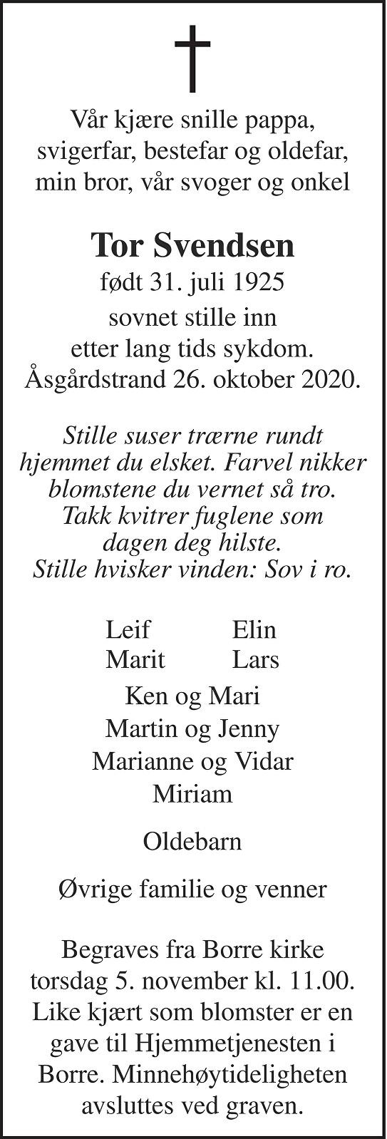 Tor Svendsen Dødsannonse