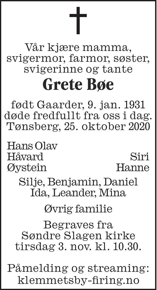 Grete Bøe Dødsannonse