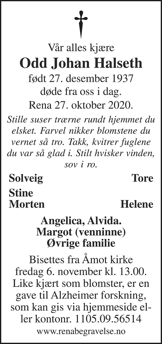 Odd Johan Halseth Dødsannonse