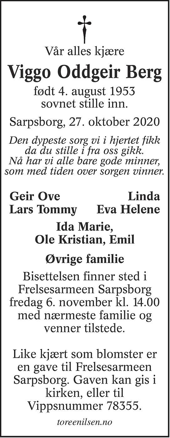Viggo Oddgeir Berg Dødsannonse