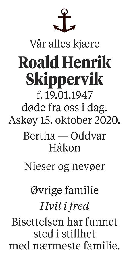 Roald Henrik Skippervik Dødsannonse