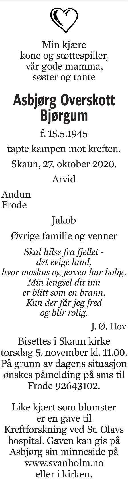 Asbjørg Overskott Bjørgum Dødsannonse