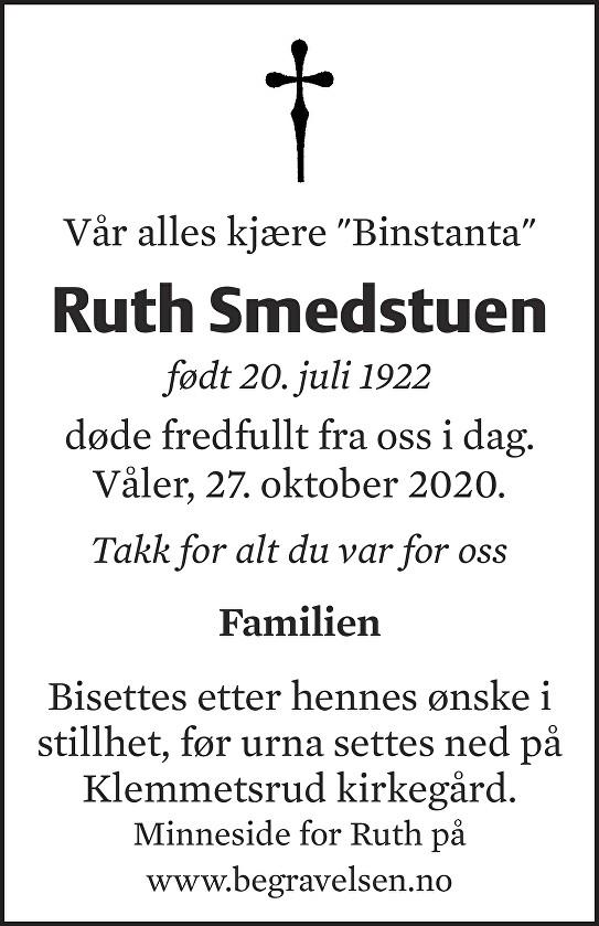 Ruth Smedstuen Dødsannonse