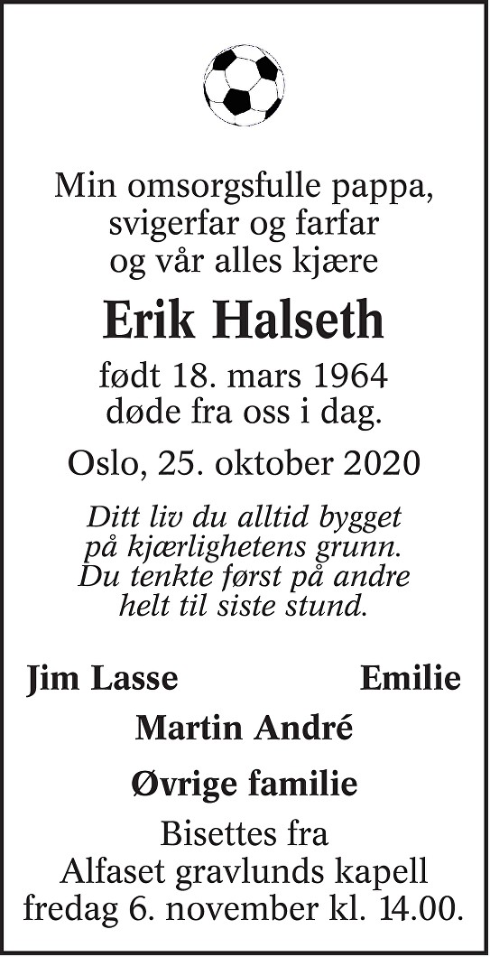 Erik Halseth Dødsannonse