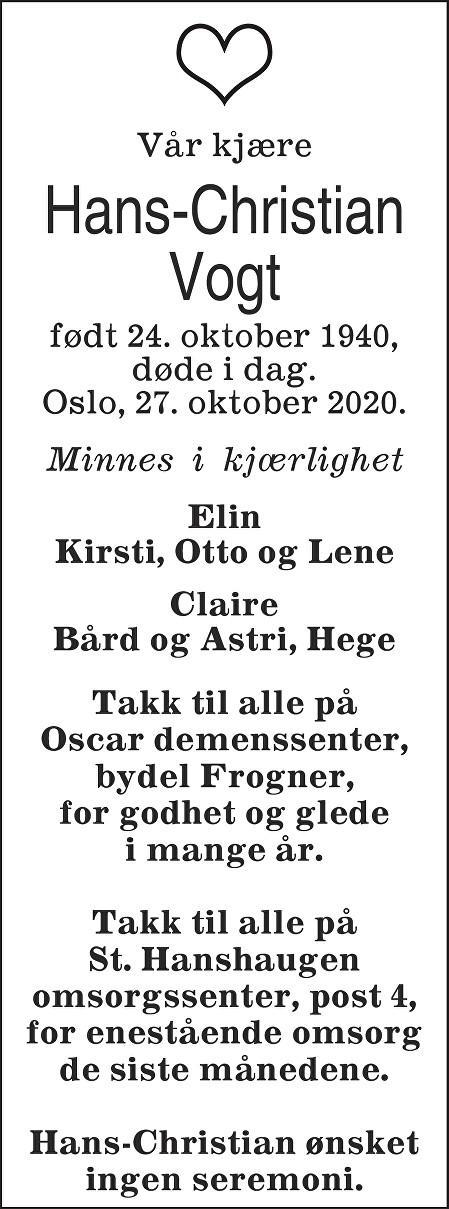 Hans-Christian Vogt Dødsannonse