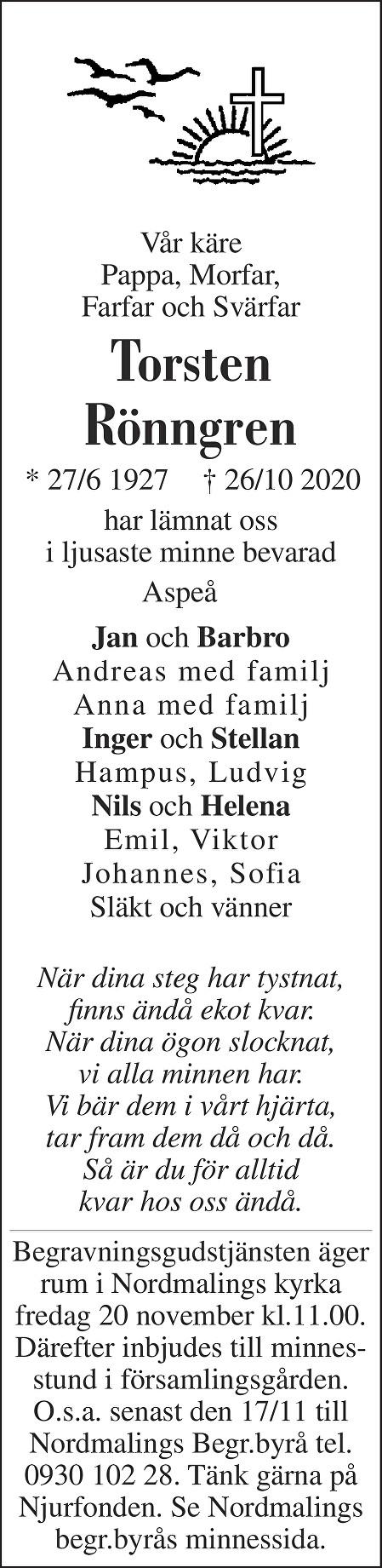Torsten Rönngren Death notice