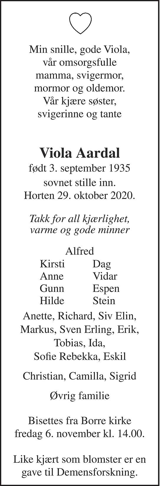 Viola Gunhild Mathilda Aardal Dødsannonse