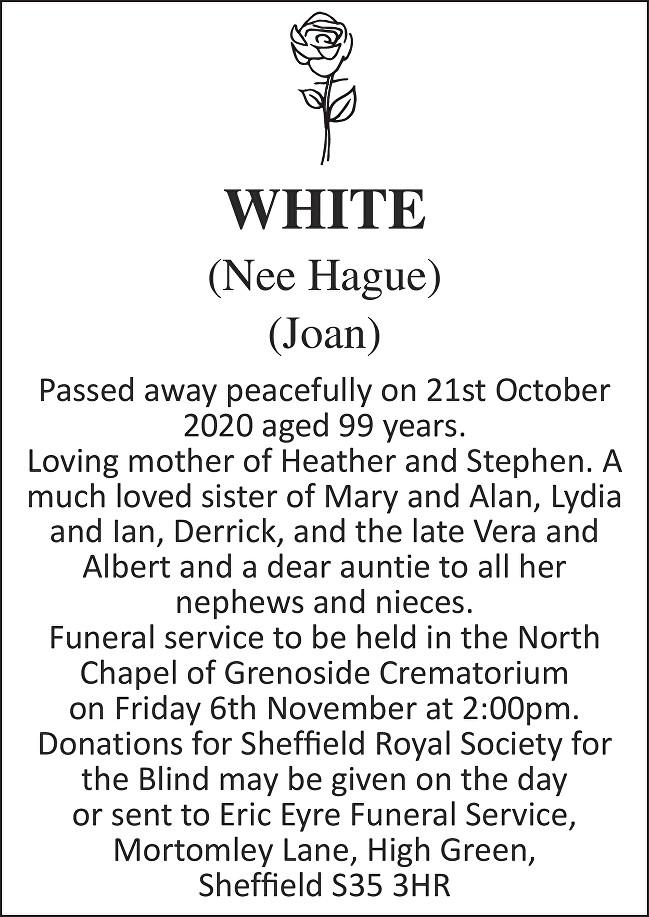Joan White Death notice