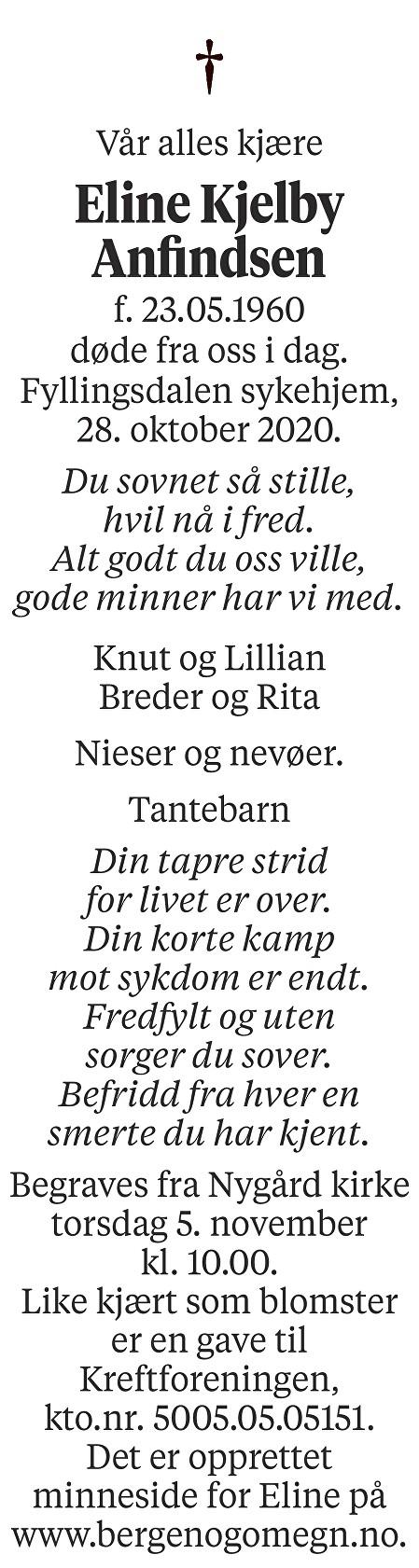 Eline Kjelby Anfindsen Dødsannonse
