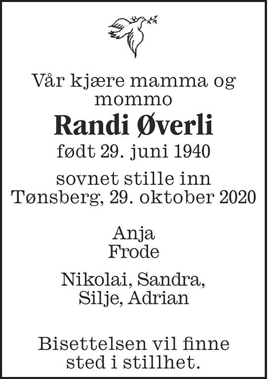 Randi Øverli Dødsannonse