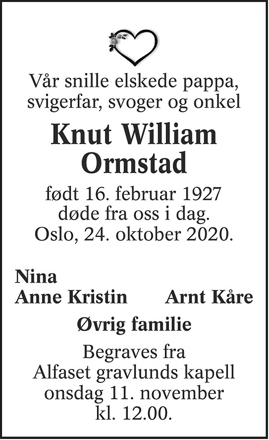 Knut William Ormstad Dødsannonse