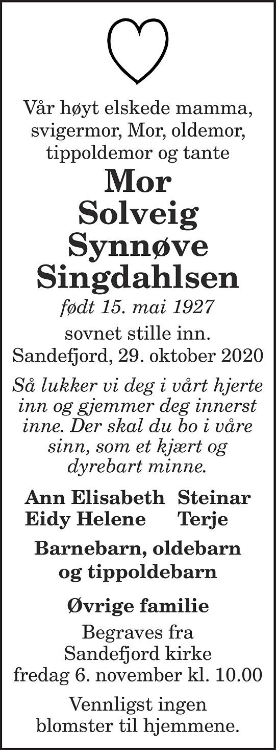 Solveig Synnøve Mor Singdahlsen Dødsannonse