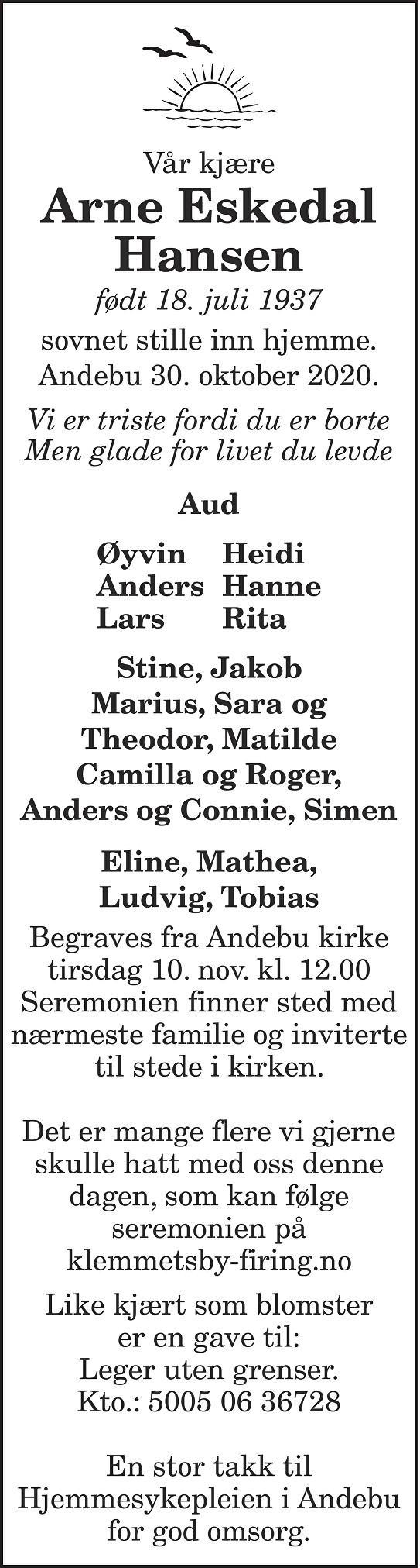 Arne Eskedal Hansen Dødsannonse