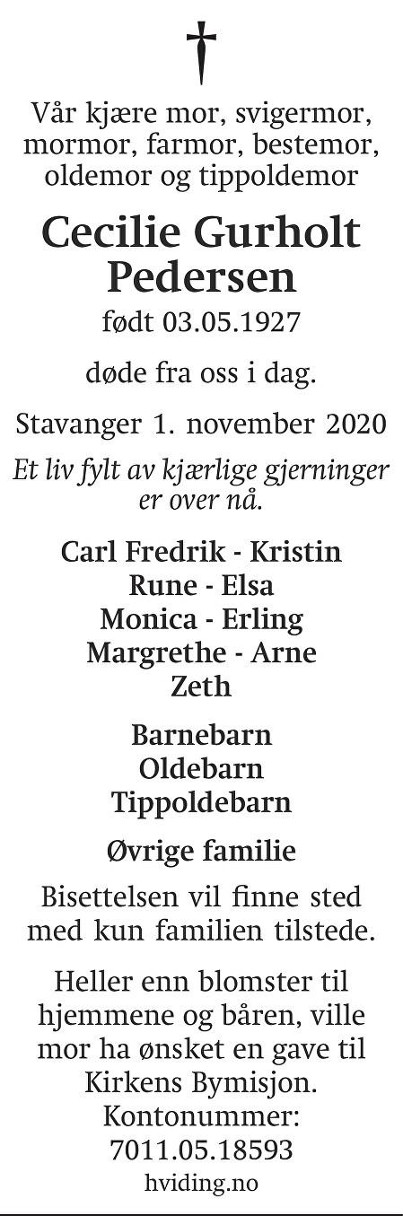 Cecilie Gurholt Pedersen Dødsannonse