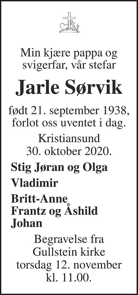 Jarle Sørvik Dødsannonse