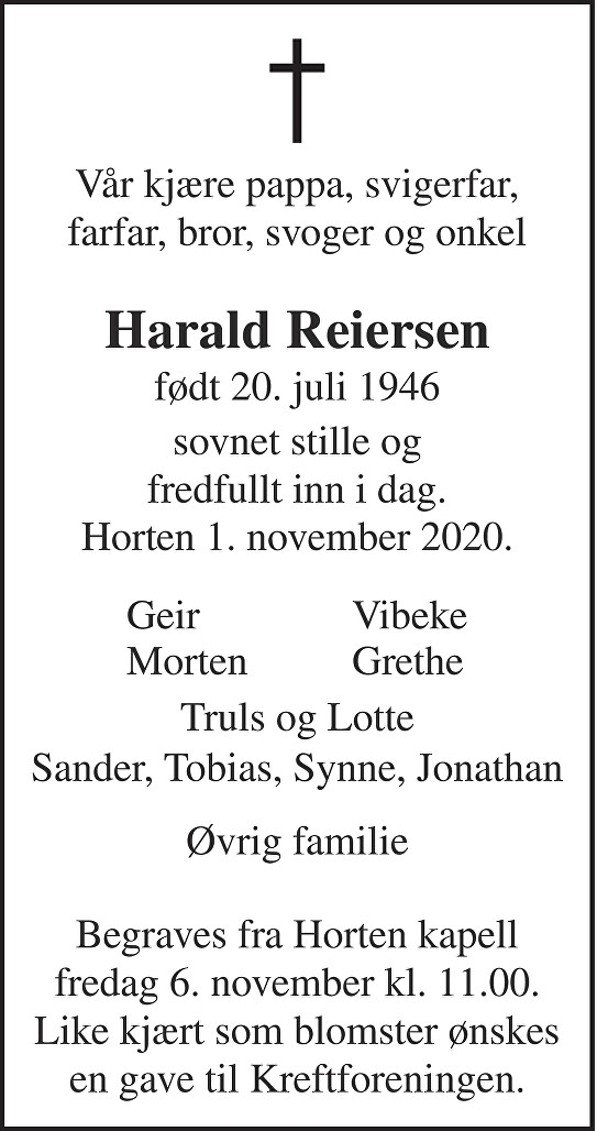 Harald Reiersen Dødsannonse