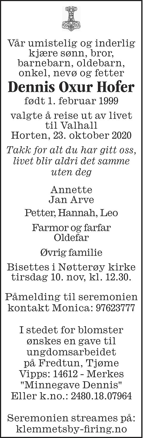 Dennis Oxur Hofer Dødsannonse