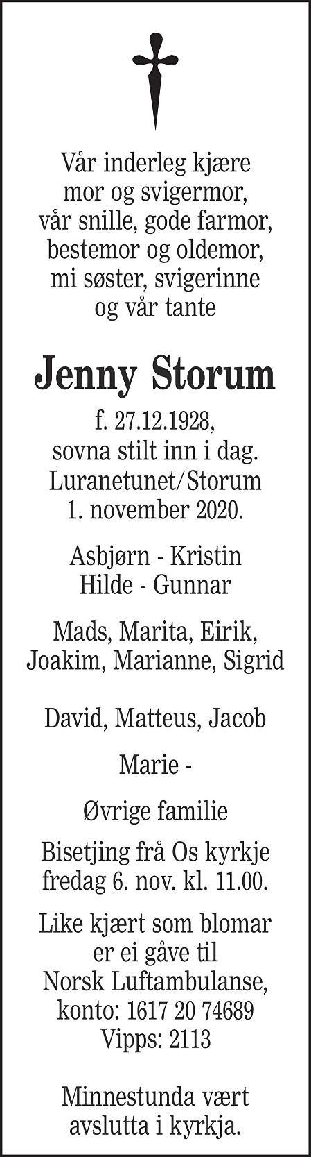 Jenny Storum Dødsannonse