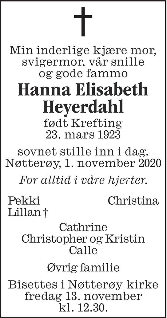 Hanna Elisabeth Heyerdahl Dødsannonse