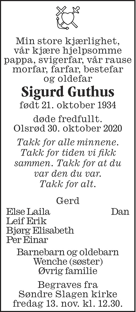 Sigurd Hjalmar Guthus Dødsannonse