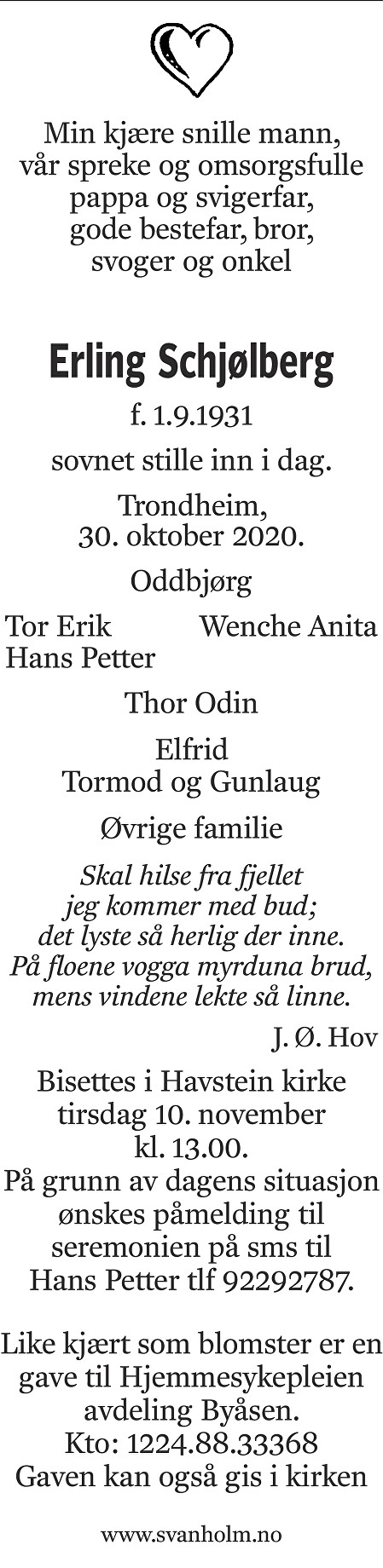 Erling Schjølberg Dødsannonse