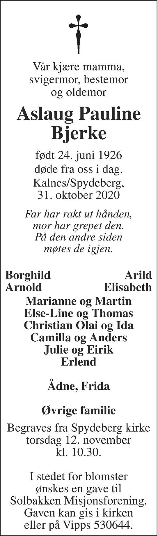 Aslaug Pauline Bjerke Dødsannonse