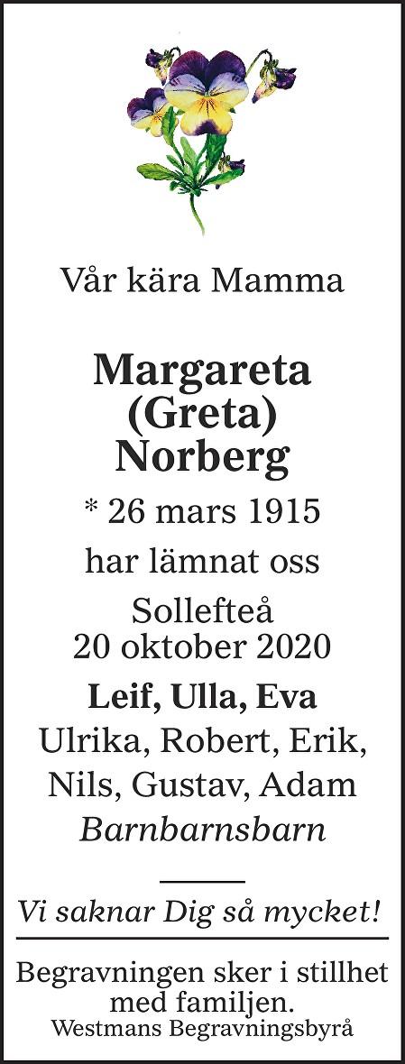 Margareta Norberg Death notice